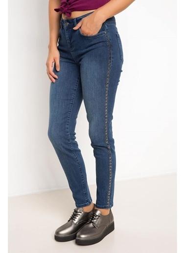 DeFacto Zımba Detaylı Denim Pantolon Mavi